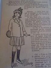 """PATRON ORIGINAL POUR LA POUPEE BLEUETTE """" COSTUME DE TENNIS  JUILLET   1913"""
