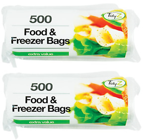 2 X 500 MEDIUM FREEZER & FOOD BAGS Large Roll Strong Fresh Lunch Bags Meat Fish
