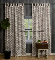 Hand Block Print Curtains Cotton Tab Top Window Door Curtains Indian Decor 2 PC