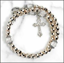 Gold Colored Wrap Style Rosary Bracelet  NEW (ND032)