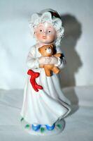 "Enesco 1985 Girl in Nightgown With Teddy Bear Figurine Holiday 5 3/8"" Tall"