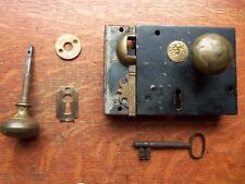 Antique Carpenter's Keyed Box Lock with Keeper, Knobs, Rose c1830 England