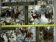 Real Tree Deer Buck Stag Forest Woods Antlers Trees 1505 FLEECE Patchwork Fabric