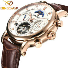 Luxury Designer Automatic Moon Phase Tourbillon Leather Men's Watch BINSSAW