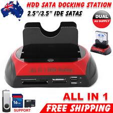 "Dual 2.5"" 3.5"" SATA IDE HDD Docking Station Hard Disk Drive Dock OTB Card Reader"