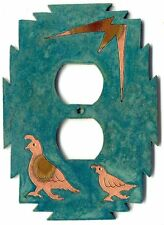"""Coppercutts Quail Family Outlet Cover 4.25"""" x 6"""" SouthWest Rustic Copper & Wood"""
