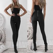 Ladies High Waist Leggings Back Zipper Leather Pencil Pants Skinny Stretch Pant