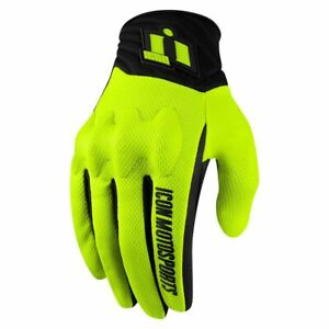 ICON - ANTHEM Motorcycle Glove - HI-VIZ - PICK YOUR SIZE-D30 Knuckle-CE Approved