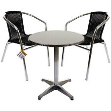 BISTRO SET OUTDOOR GARDEN PATIO FURNITURE SQUARE ROUND STACKING TABLE CHAIRS