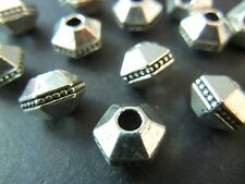 10pc 10mm Large Silver Premium Tibetan Silver Large Hole Hexagon Spacer Beads