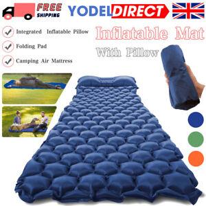 Inflatable Camping Mat Ultralight Lightweight Single Sleeping Mattress Pillow UK