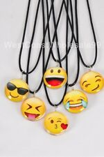 6 PC Emoji Double Sided Glass Fashion Necklace Wholesale Costume Jewelry Lot USA