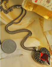 Red Heart Shape Angel Wing Retro Bronze Rhinestone Pendant Necklace