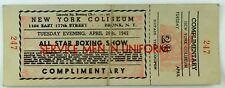 April 28th, 1942 All Star Boxing New York Coliseum Ticket NY Vintage Original &A