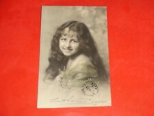 ZH195 Vintage Early RPPC Young Girl Long Hair Smiling Green Lace Shall