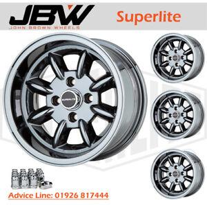 7x 13 Superlite Wheels Classic Ford Set of 4 Dark Chrome