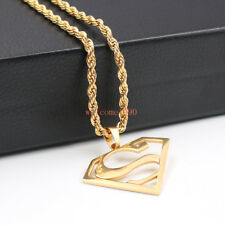 Women Mens Gold stainless steel superman Necklace pendant rope chain 4mm 22''