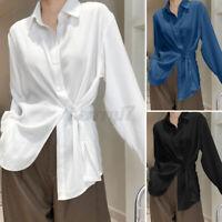ZANZEA Womens Button Down Irregular Hem Shirt Long Sleeve Top Plain Basic Blouse