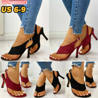 New Women Stiletto Thong Shoes High Heel Sandals Slingback Buckle Peep Toe Pumps