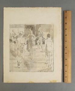 Signed ISABEL BISHOP New York Social Realist Hand-Colored Etching Print, NR