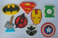8 edible SUPER HERO MEDIUM 7cm cake topper DECORATIONS batman superman thor logo