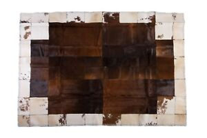 """Aydin Original Cowhide Patchwork Area Rug Large Natural Brown Cream 6'3""""x8'9"""""""