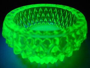 Green Vaseline glass salt cellar dip candle holder uranium diamond glows yellow