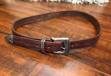 VTG CHIC Western Brown Tooled Leather Silver Accent Buckle Belt 31L