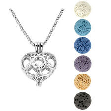Lava Bead Essential Oil Diffuser Ball Hollow Five Circles Heart Locket Necklace