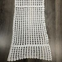 Vintage Crochet Lace Doily Runner White Cottage Shabby Chic Farmhouse 45 x 11