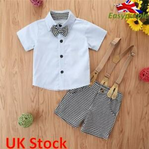 Toddler Baby Boy Gentleman Outfit Formal Party Wedding Bowtie Shirt Shorts Suit