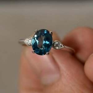 Estate 925 Solid Silver Natural Diamond & London Blue Topaz Gemstone Ring
