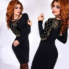 Long Sleeve Stretch, Bodycon Geometric Dresses for Women