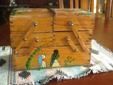 vtg Mexican Accordion Sewing Jewelry Trinket Hand Painted Wooden Box
