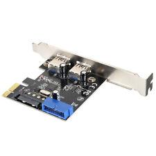 Schnel 2 Ports USB 3.0 Erweiterungskarte PCI-E 15 Pins SATA 5Gbps Stromanschluss