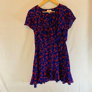 GB Girls Size XL Formal Dress Blue&Red Floral Lined Elastic waist w/bow Ruffles