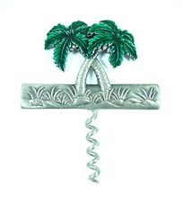 Hand painted Wine pull pewter Palm Tree design Multi -Color