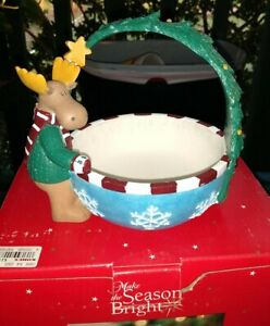 "Season Bright Christmas Moose Candy Dish Serving Bowl Basket Resin 5"" x 5"" new"