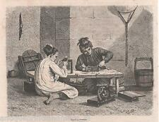 Old print  Nacre workers Vietnam Annam 1879 antique