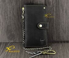Mens Biker Rocker Trucker Bifold Snap Long Leather Wallet Purse With Brass Chain
