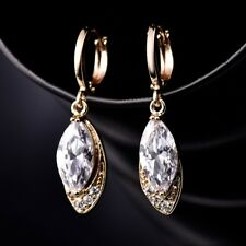New Look 18k Gold Filled Clear Marquise Swarovski Crystal Long Dangle Earring
