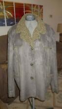 Womens Faux Suede Jacket Coat Dennis Basso Loden Green 3XL EUC