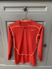 Nike Pro Combat Mens Compression Top. Dri-Fit. Size S. Red Orange