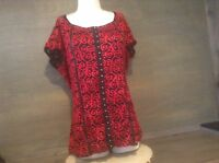 Avenue Womens Blouse Top Red Black CAP SLEEVES  TEXTURED Sz 18 /20 NWT $49