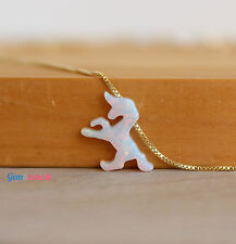 Unicorn Pendant Fire White Lab Opal Gold Filled Choker Necklace Women Jewelry