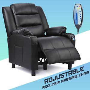 Leather Electric Massage Recliner Chair Lumbar Heating Armchair Cinema Sofa