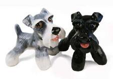 Schnauzer Mini Silver and Black Handmade Cruet Set 6cm X 7cm