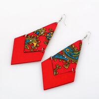 1Pair Fashion Elegant Women Lady Wood Dangle Drop Chain Ear Stud Earrings Jewel