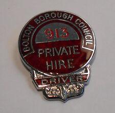 Bolton Borough Council PHV Private Hire Taxi Drivers Badge. No: 913