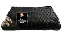 LARGE LUXURY WASHABLE PET MATTRESS BED CAT DOG SOFT WARM FUR CUSHION BLACK